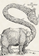 Rhinocéros drôle après une gravure sur bois d Albrecht Dürer