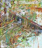 Peinture à l'huile sur un sol mouillé