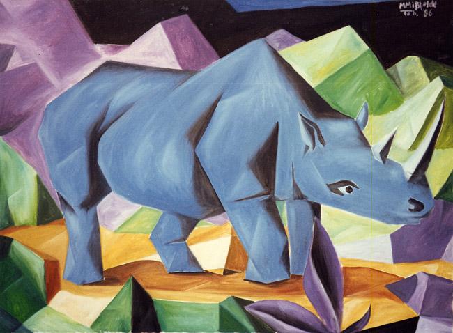 Blue Rhino (oilpainting cubiste)