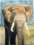 Eléphant d'Afrique (Peinture à l'huile)