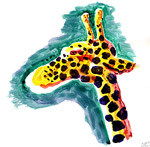 Giraffe tête (aquarelle)