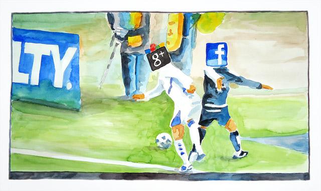 Aquarelle Google vs facebook
