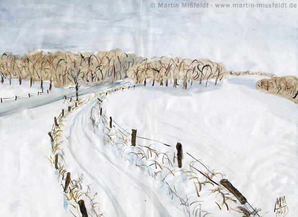 Paysage d'hiver avec des couleurs d'eau - gouache par martin missfeldt