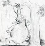 Dessin animé: éléphant graisse suspendus