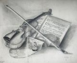 Nature morte avec violon (Dessin crayon)