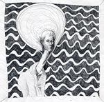 Crayon autoportrait avec des vagues