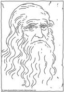 Modèle Coloriage de Léonard de Vinci