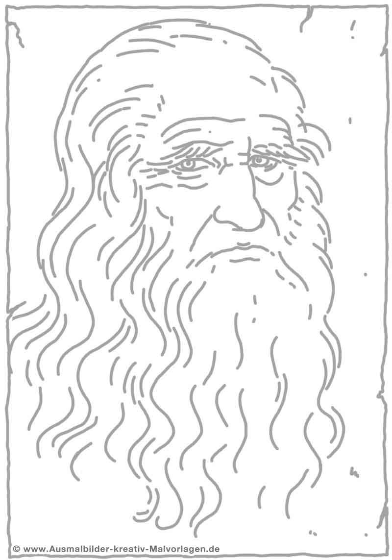 Modèle Coloriage De Léonard De Vinci Peinture Numérique