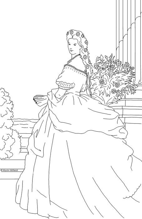 Modèle Coloriage d\'une princesse - Dessin numérique