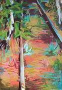 peinture sauvage: l'herbe à côté du chemin de fer