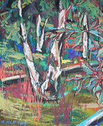 peinture: tronc d'un bouleau