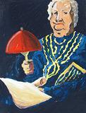 Mamie fait de la lumière avec une lampe