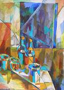 Peinture à l'huile nature morte avec des bouteilles