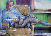 Peinture à l'huile fille dans le fauteuil