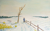 Peinture à l'huile paysage de hiver