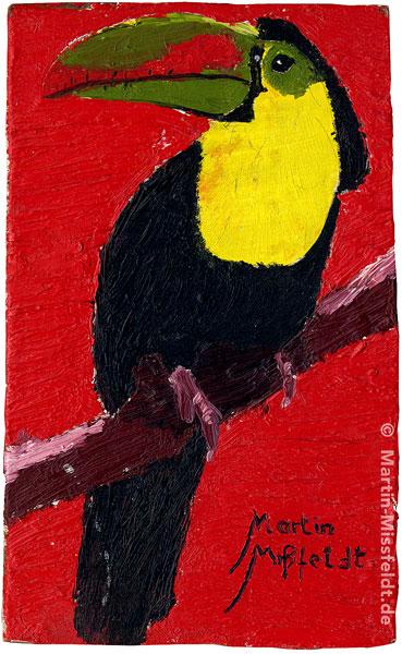 Peinture à l'huile d'un tucan