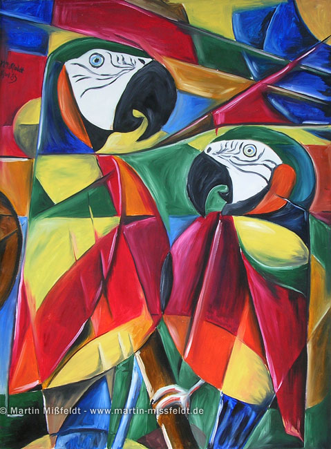 Perroquets cubistes (oilpainting)
