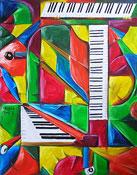 Peinture à l'huile: piano image (cubisme)