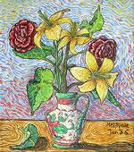 Peinture à l'huile: Vase de fleurs