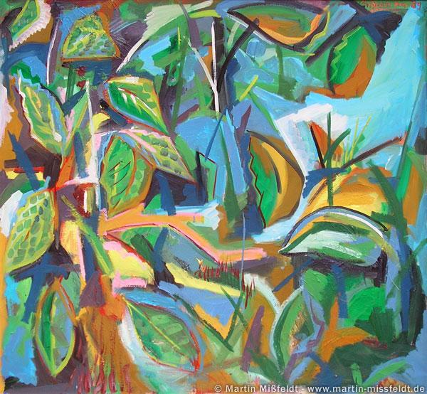 Peinture abstraite avec feuilles