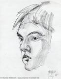 Portrait croquis au fusain
