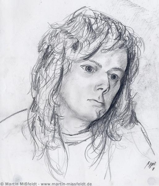 Portrait au crayon anja dessin au crayon par martin missfeldt